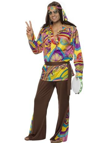 Brand New 1960s Psychedelic CND Hippie Adult Costume