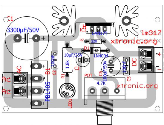 lm317 adjustable voltage regulator pcb power supply 700x536 Circuit