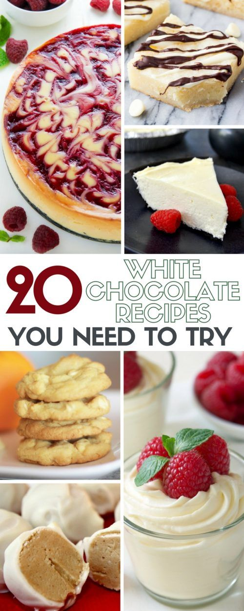 20 White Chocolate Dessert Recipes you need to try! From cookies, brownies, and cakes, these recipes will have you rethinking your favorite dessert.