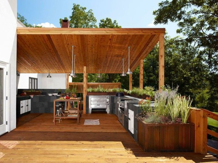 Outdoor kitchen yourself wooden boards build canopy
