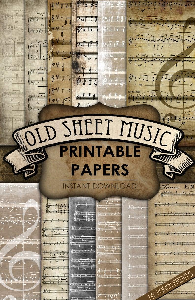Old Sheet Music, Printable paper, junk journal, 8.5 x 11, neutral, ephemera, scrapbooking, grunge, coffee stain, vintage, digital download