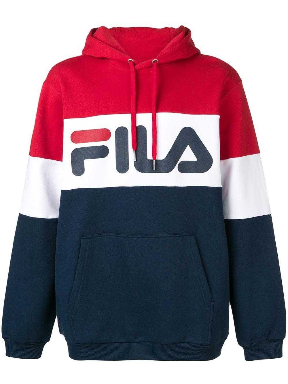 nieuwe lagere prijzen enorme korting schoonheid Fila panelled logo print hoodie - Blue in 2019   Products ...