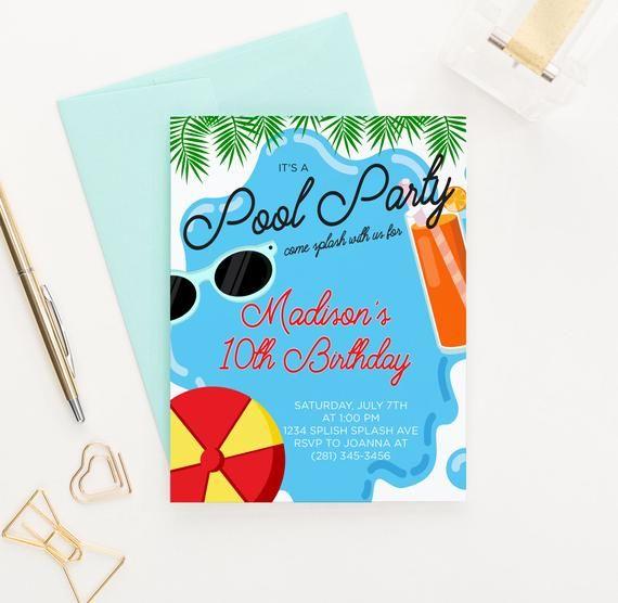 Summer Pool Party Invitation, Pool Party Birthday Invitations Boy or Girl Pool Birthday Party Invitation Boy, PDF Digital Or Printed, BI060 #summerpoolparties