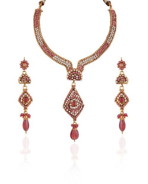 Pink Stone Studded Long Polki Fashion Necklace Set