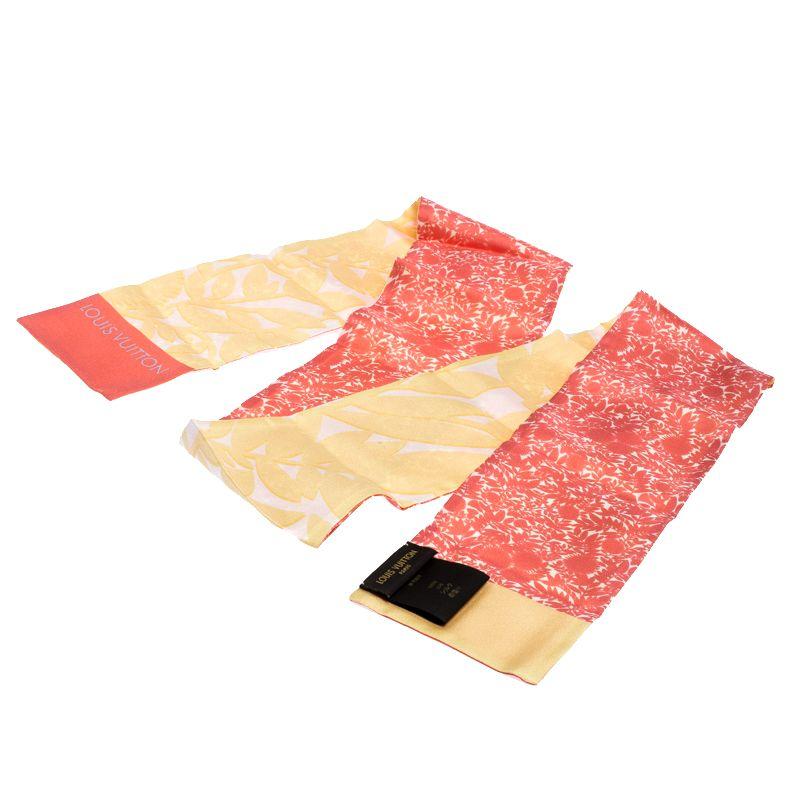 Louis Vuitton Pink & Yellow Printed Silk Bandeau Scarf #scarvesamp;shawls