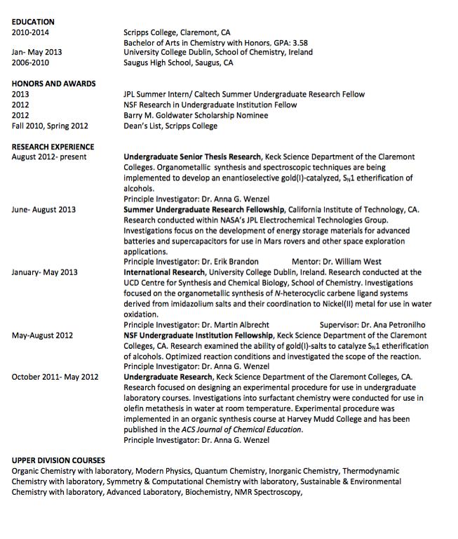 Sample Udergraduate Senior Thesis Resume Exampleresumecv