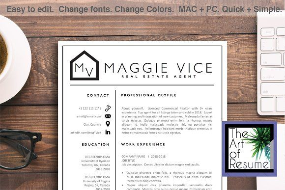 Resume Template Real Estate Agent Cv By The Art Of Resume On
