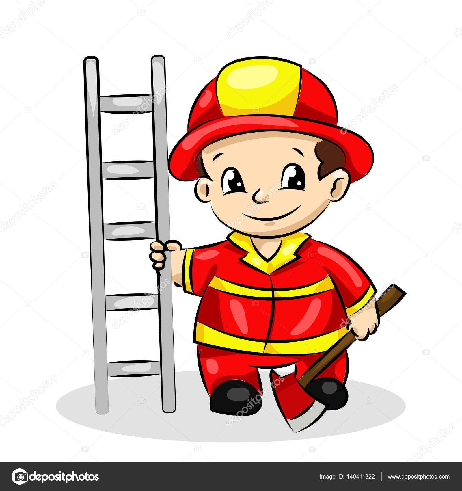 Dibujos Animados Divertida Bombero Con Escalera Y Hacha