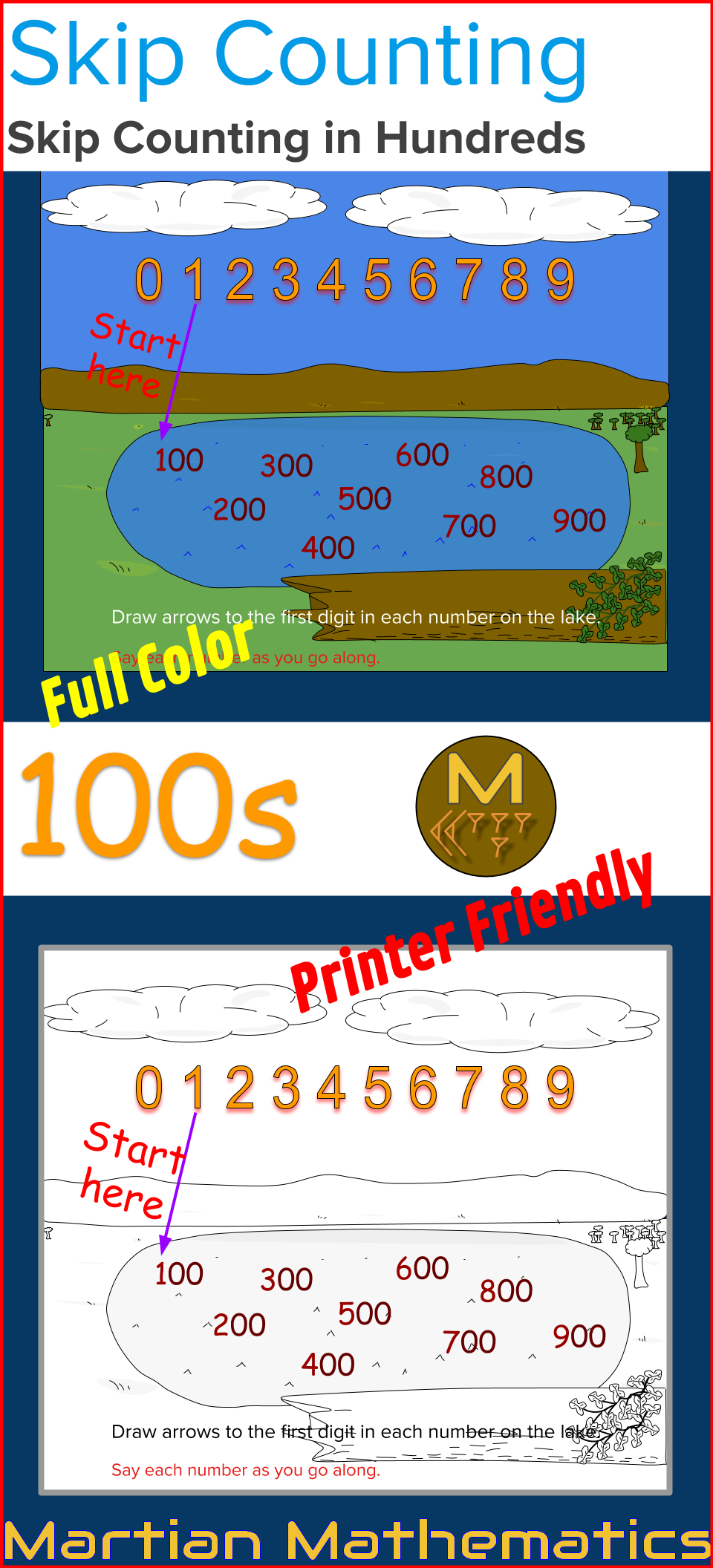 Skip Counting In Hundreds Self Directed Worksheets Education Math Skip Counting Math Number Sense [ 2112 x 960 Pixel ]