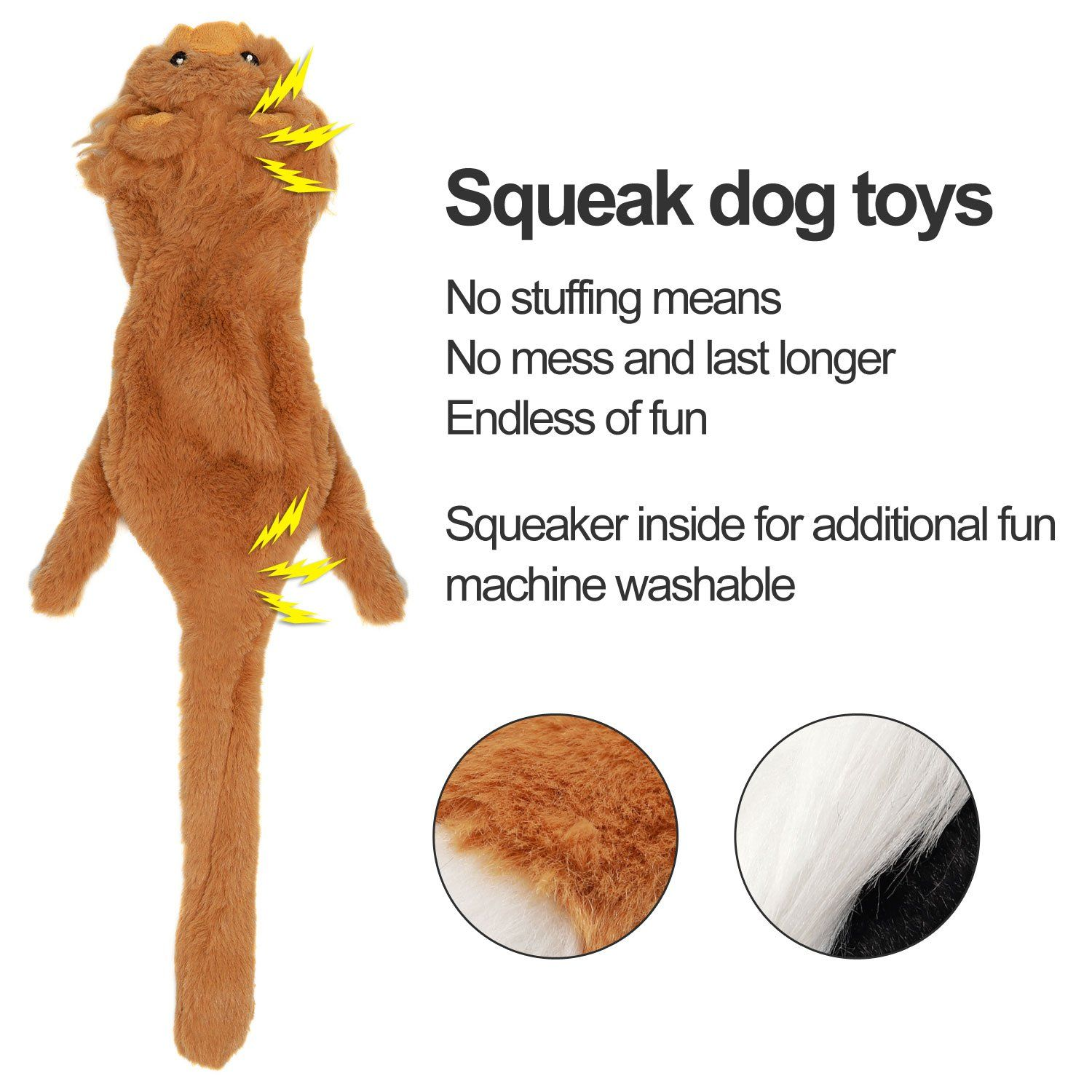 Vitscan Stuffless Dog Toys Durable Stuffingless Dog Plush Squeaky