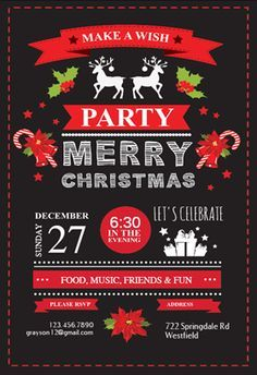 """Free Christmas Invitation Templates Awesome Celebration Symbols"""" Printable Invitation Templatecustomize Add ."""