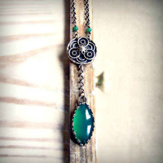 Onyx necklace, green gemstone necklace, sterling silver necklace, medallion necklace, cabochon necklace, oxidized necklace, filigree pendant. via Etsy.