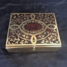 Art Nouveau Trinket Cigarette Box Erhard Sohne Brass Rosewood Germany Antique