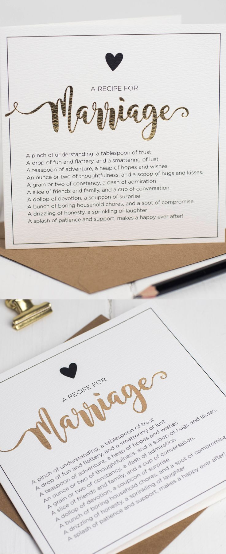 The Recipe Of Marriage Gift Card For Newly Weds Wedding Cards