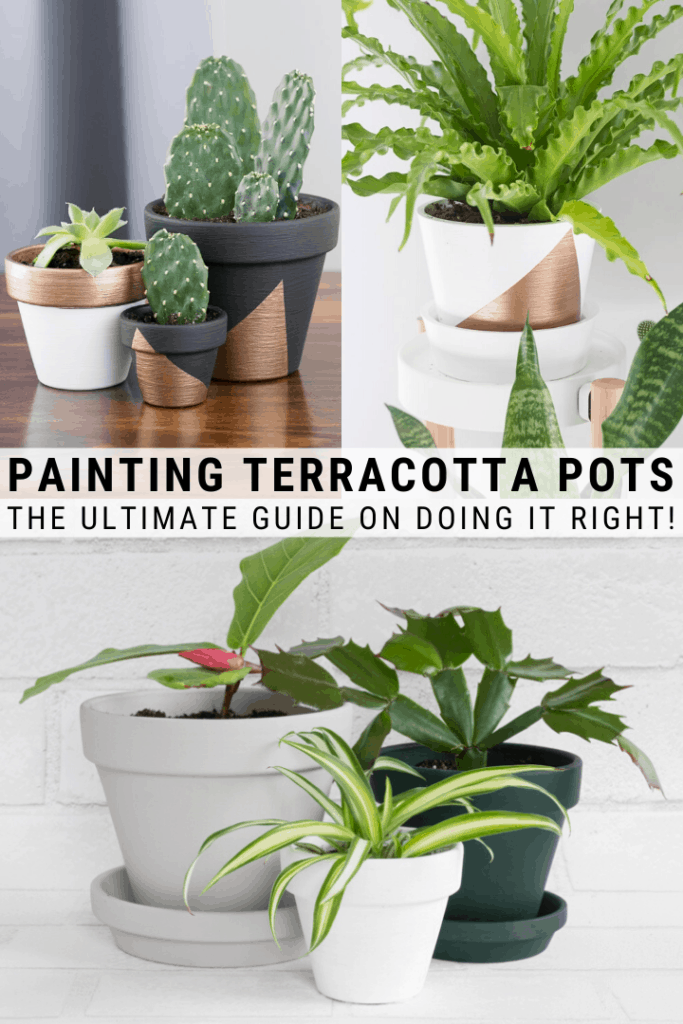 How to Paint Terracotta Pots & the Best Paint for Terracotta Pots is part of Plant pot diy, Painted terra cotta pots, Terracotta pots, Terracotta plant pots, Painted pots diy, Painted plant pots - Learn how to paint terracotta pots, including the best paint for terracotta pots to help give inexpensive terracota pots a more polished, modern look
