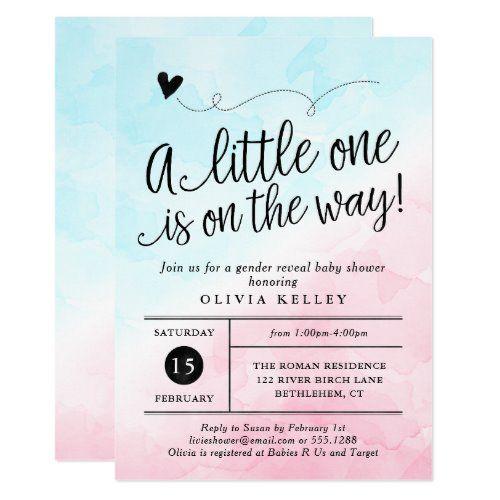 Dotty 2 Tone Watercolor Gender Reveal Invitation Zazzle Com