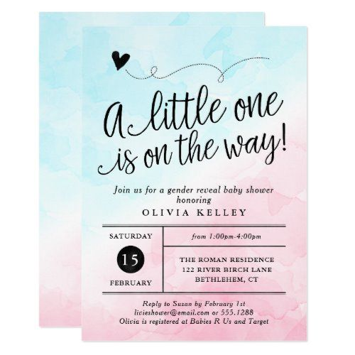 Pink Blue Gender Reveal Baby Shower Invitation Zazzle Com In