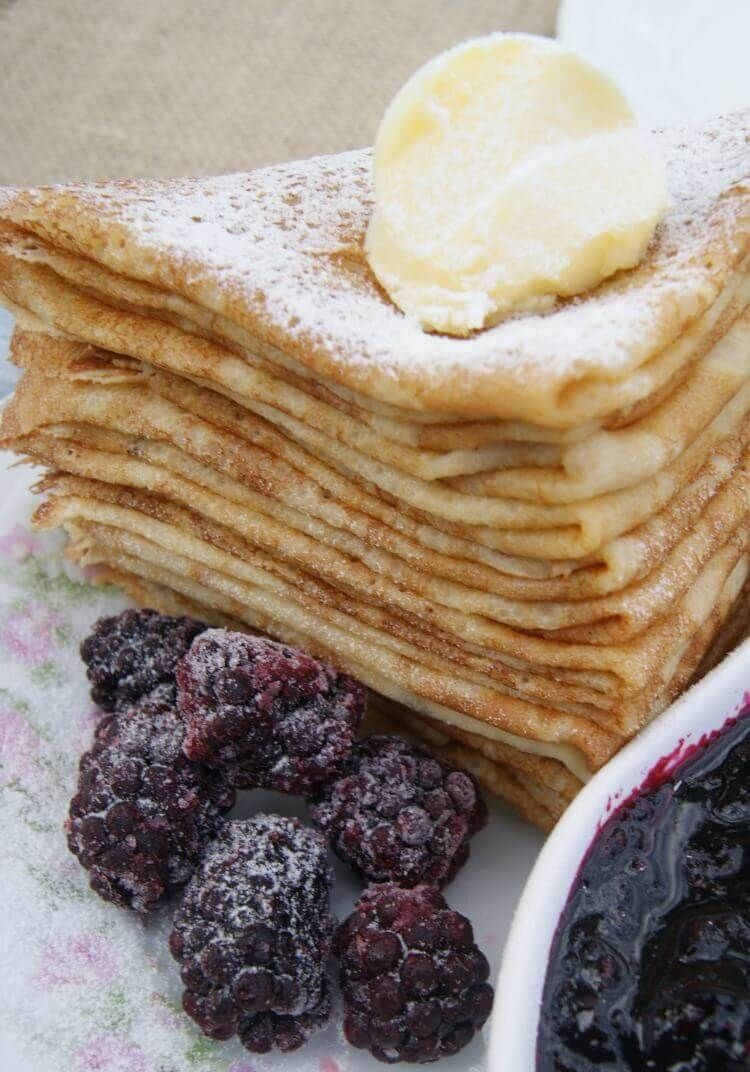 Grain-Free French Crepes 3 medium eggs, room temperature  4T melted butter  1t honey  ½t fine sea salt (my pick)  ¾c cassava flour (my pick)  2c milk of your choice (plus more as needed)  additional butter for frying