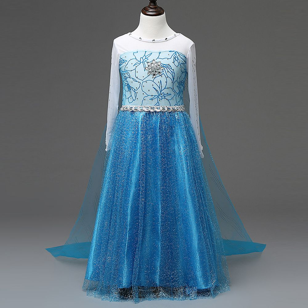 Click to Buy << New Summer Snow Queen Elsa Dress Kids Clothing Polka ...