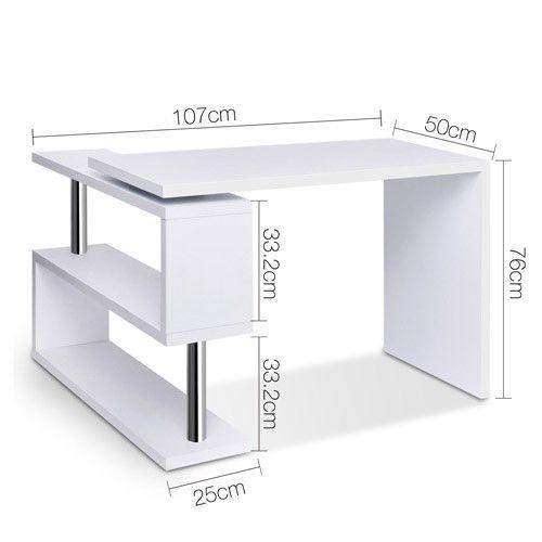 Computer Desk Corner Table w Rotating Bookshelf Study Student