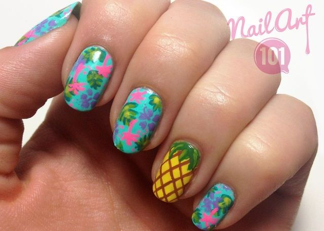 Summer Blue Pink Luau Pinele Black Nail Art Stiletto Nails