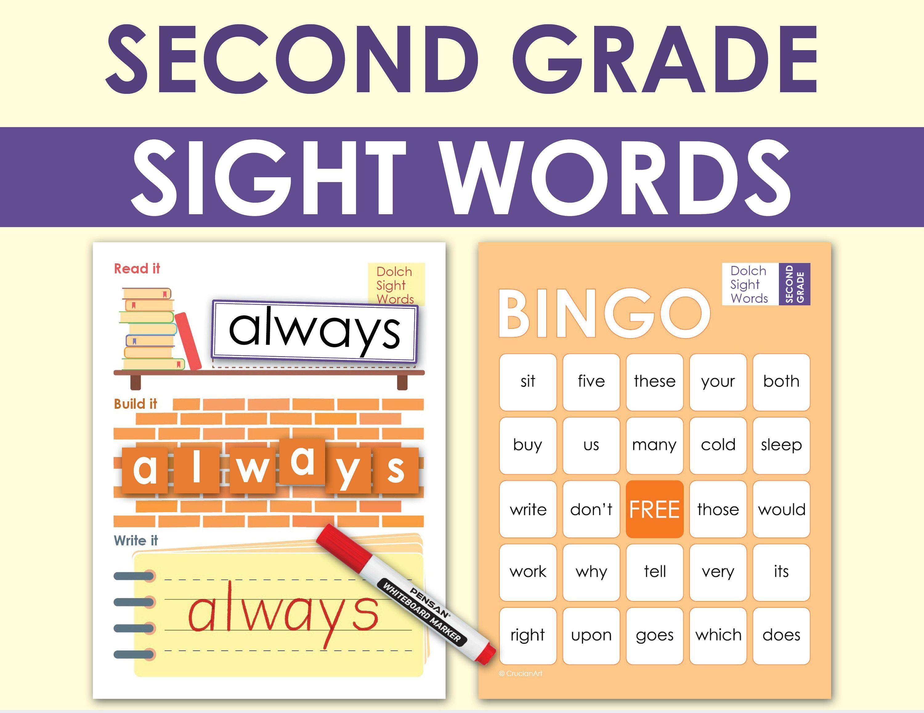 2nd Grade Sight Words Practice Literacy Worksheets