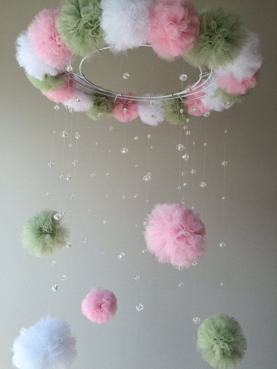 pink and green crystal baby mobile, pom pom puffball baby mobile, baby girl mobile, pink baby mobile