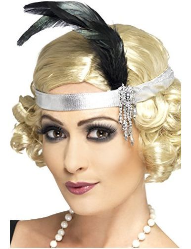 Ladies Girls Charleston Red Sequin Flapper Headband Feather Fancy Dress Headdres