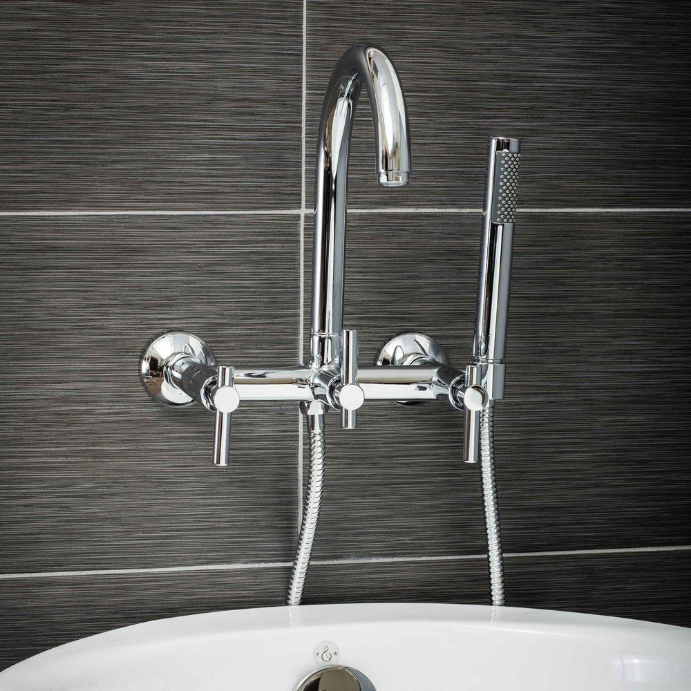 Pelham And White Contemporary Wall Mount Tub Filler Faucet In