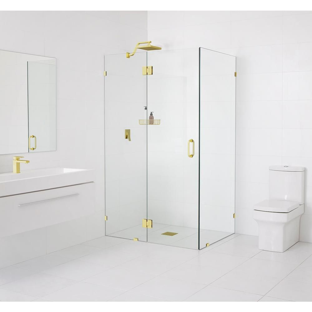 Glass Warehouse 90 Glass Hinged 48 In X 78 In X 32 In Frameless Pivot Shower Door In Polished Brass Gw 90 Gh 48 32 Pb In 2020 Frameless Shower Doors Glass Hinges Shower Doors