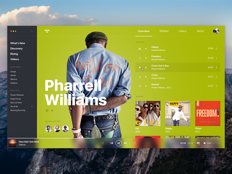 TIDAL • Concept, player, artist page  | Dribbble Likes | 앱