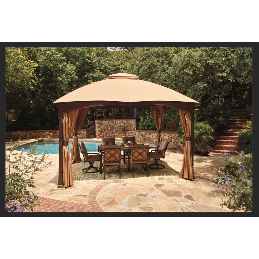 Allen Roth Brown Metal Rectangle Screened Gazebo Exterior 10 662 Ft X 12 795 Ft Foundation 10 Ft X 12 Ft Lowes Com Screened Gazebo Gazebo Rectangular Gazebo