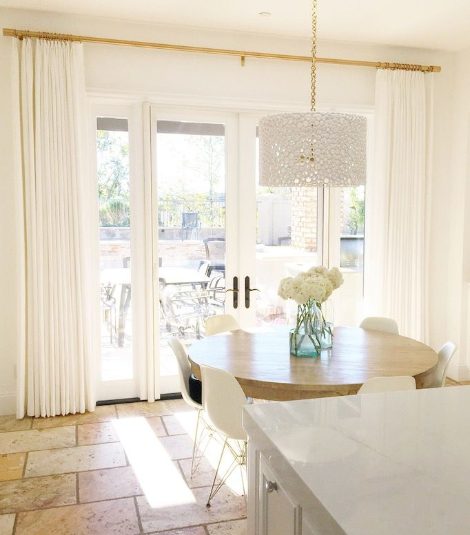 Curtains With Gold Curtain Rod And Clips. Crisp White Kitchen Nook   Owens  And Davis