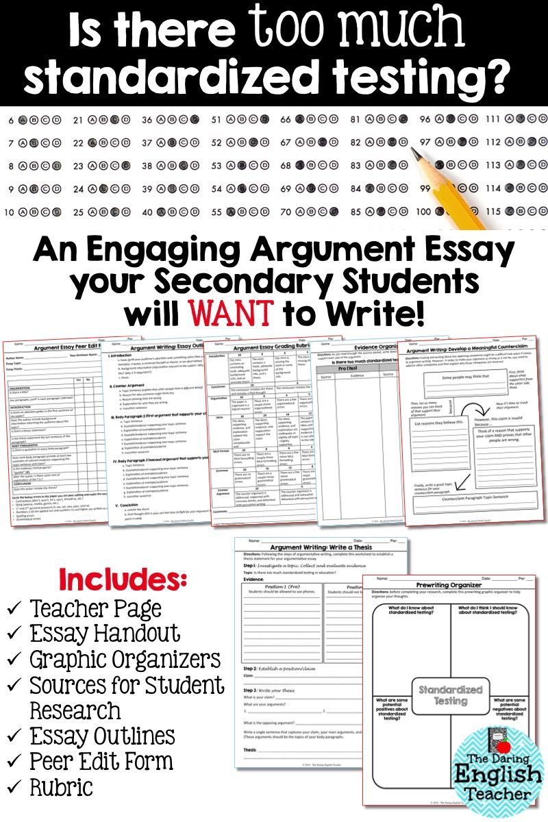 Buy Essay Papers Online This Argument Teaching Unit Includes All The Materials Needed For An  Argument Essay About Students And Standardized Testing Thesis Of A Compare And Contrast Essay also Last Year Of High School Essay Argument Essay Unit  Do Students Take Too Many Standardized Tests  Essay With Thesis