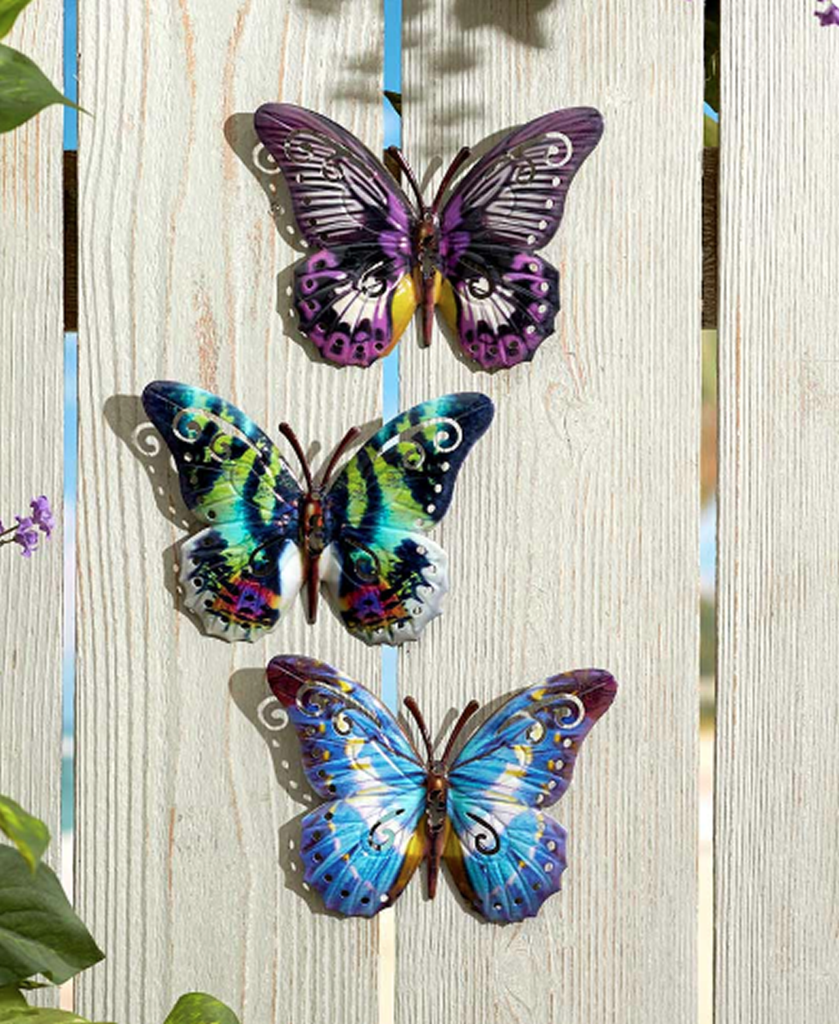 Blue/Purple Hanging Butterfly Garden Wall Plaques Set of 10