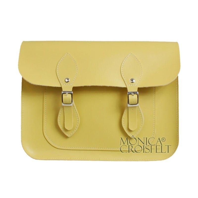 7fa7a82bc Bolsa Croisfelt Satchel Feminina Carteiro, Amarelo Candy Pastel Color 11''  Retro Vintage Design