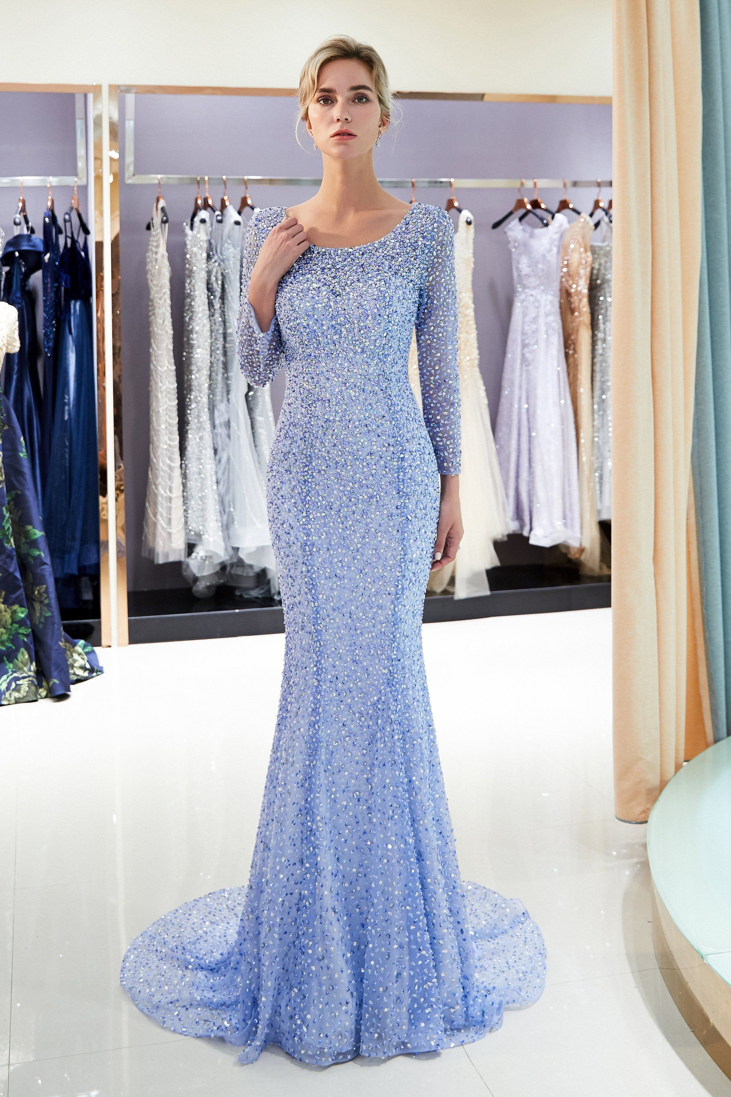 Long Sleeves Sequined Open Back Mermaid Periwinkle Blue Evening Dress Us 16 In 2021 Prom Dresses Long With Sleeves Prom Dresses With Sleeves Backless Evening Dress [ 3551 x 2367 Pixel ]