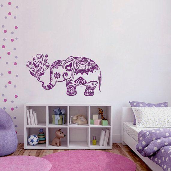 Wall Decals Vinyl Sticker Elephant Flowers Indian Animals Mandala Ganesh Girl Boy Bedroom Kids Nursery Children Baby Room Home Decor ML93