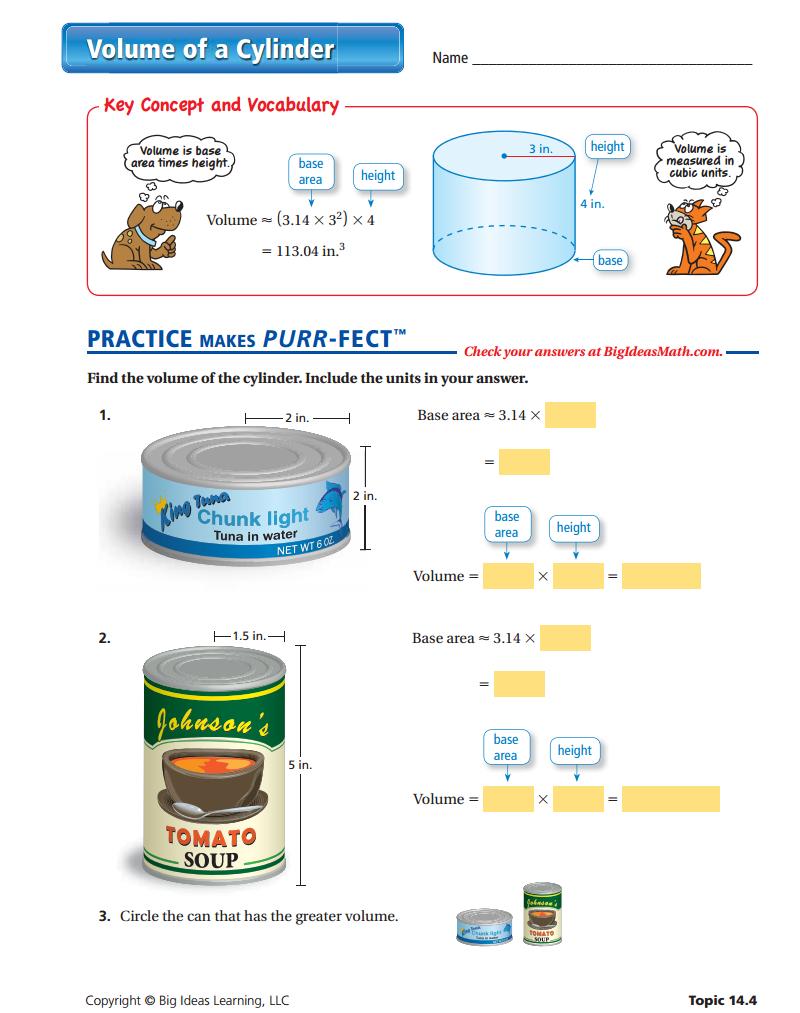 Volume Of A Cylinder Worksheet Interactive Math Journals Junior High Math Homeschool Math [ 1013 x 800 Pixel ]