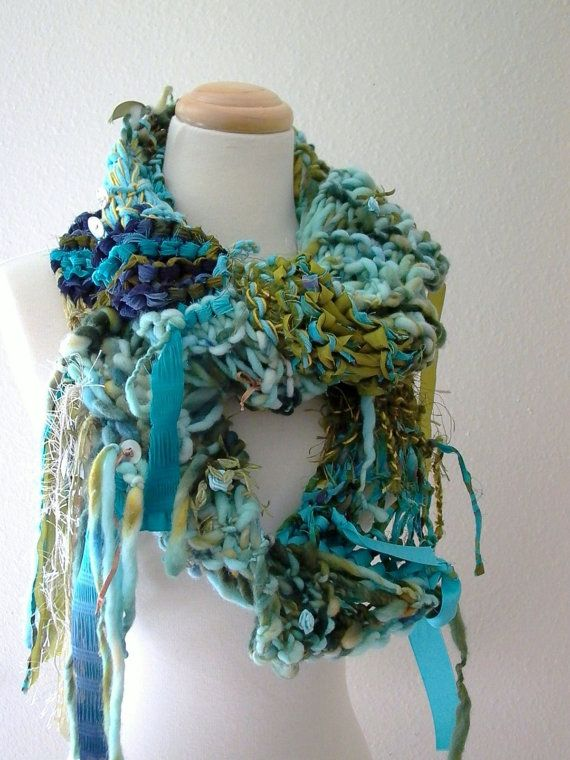 Knitting Wearable Art : Reserved sea nymph hand knit scarf wearable fiber art of