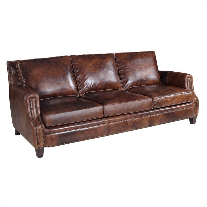 Hooker Furniture Leather Stationary Sofa in Parthenon ...