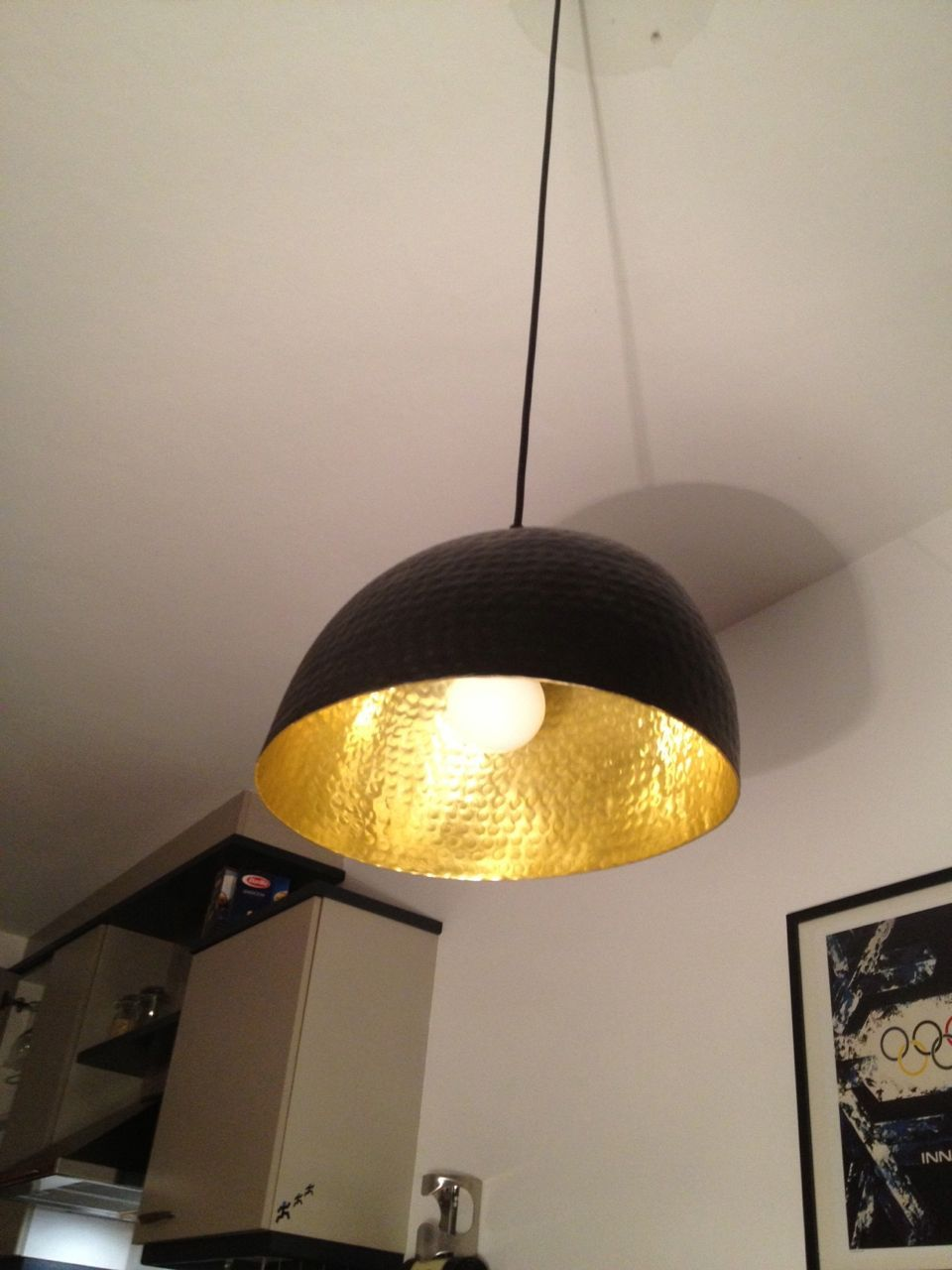 Ikea hackers tom dixon inspired gold and black lamp using ikea