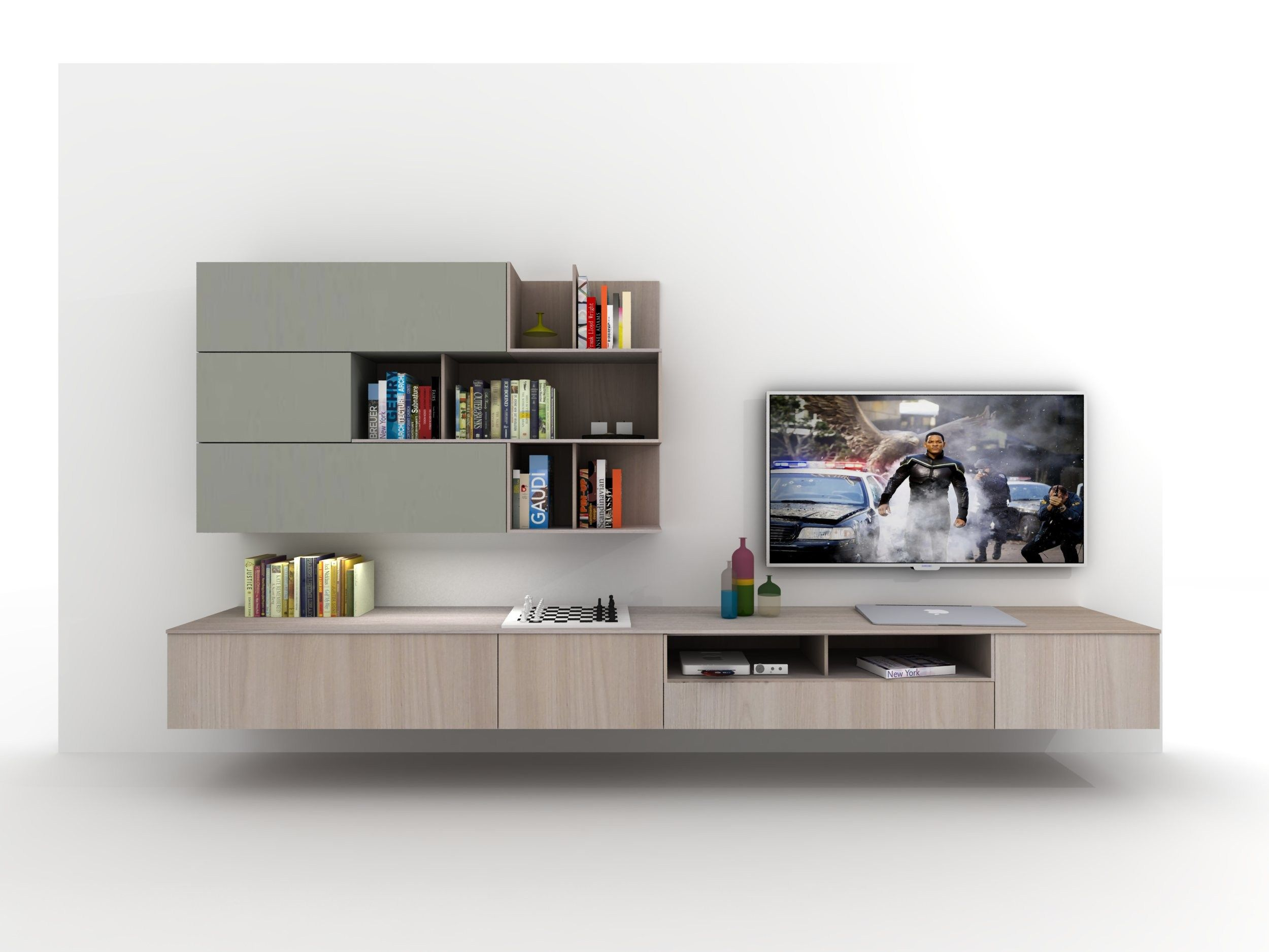 Mueble Modular De Pared Composable Montaje Pared Z409 By Zalf  # Fabrica De Muebles Hedi