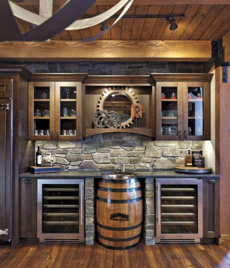 Industrial DIY Wall Basement Bar For Your Man Cave