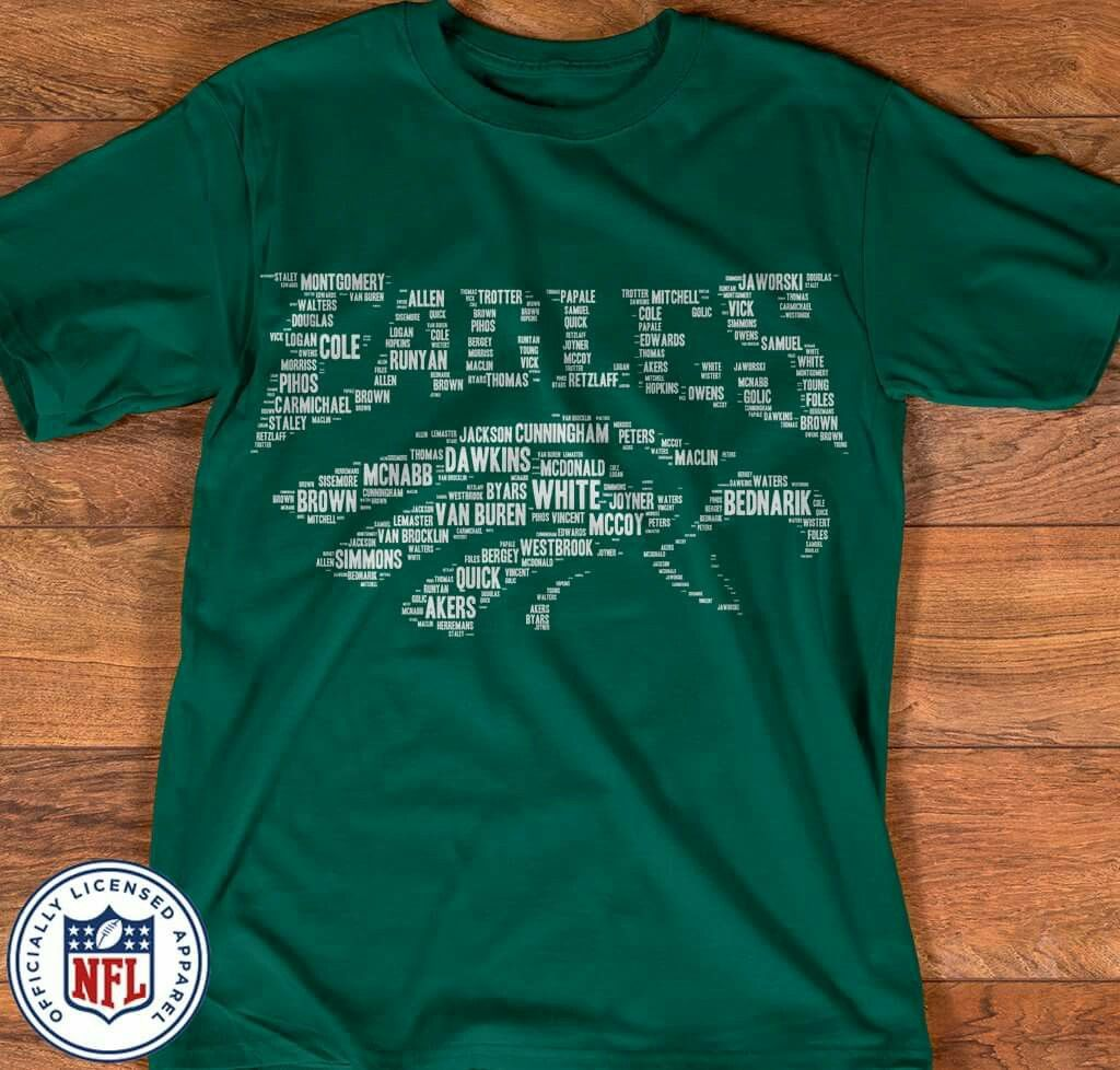 online retailer 92079 f7dad EAGLES LOGO MADE UP USING THE NAMES OF ALL THE EAGLES ...