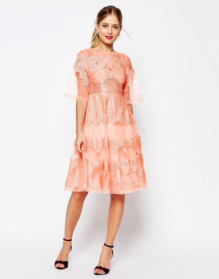 11c96c35a5 ASOS SALON Lace And Organza Midi Dress