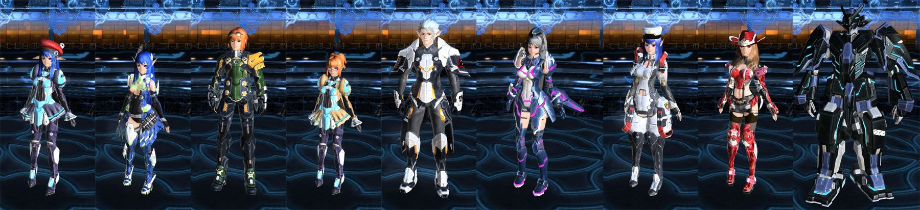 """""""PSO2"""" character creator. Left, to right: Newman Female Force, Human Male Hunter, Human Female Ranger, Newman Male Hunter, Newman Female Force, Cast Female Ranger, Human Female Hunter, Cast Male Ranger."""