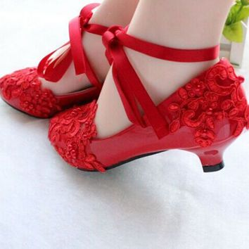 White Red Lace Pearls Women Wedding Shoes  ad62477047