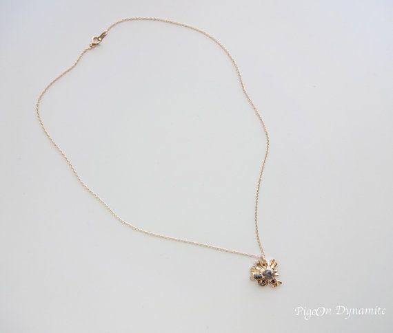 Raw Diamond Sunburst 14k Yellow Gold van PigeonDynamite op Etsy