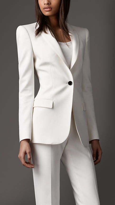Women 39 s fashion blazers skinny jeans and burberry classic for Womens white dress suit wedding